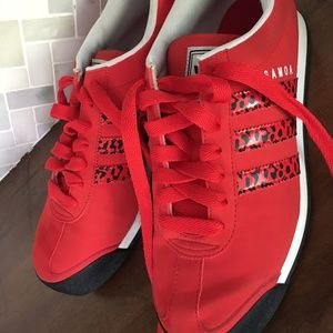 ADIDAS Samoa Men's 9 Red Sneakers HARD TO FIND EUC